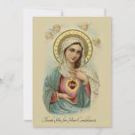 "Condolence Sympathy Thank You Catholic Mary<br><div class=""desc"">Let these beautiful Catholic Condolence Immaculate Mary Thank You Cards express your appreciation to family and friends for all their support during this difficult time of loss. This is a traditional image of the Immaculate and Sorrowful Heart of Mary with Cherubs above. All texts, fonts, and images may be customized....</div>"