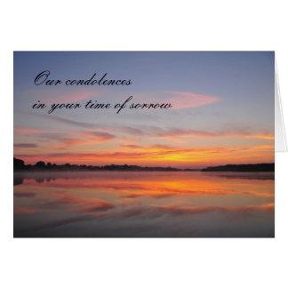 Condolences card with sunrise on lake