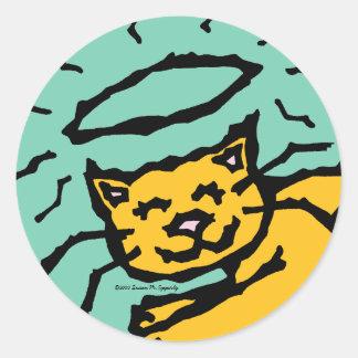 Condolencia anaranjada linda del halo del gato del pegatina redonda