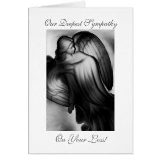 Condolencia blanco y negro del ángel tarjeta de felicitación