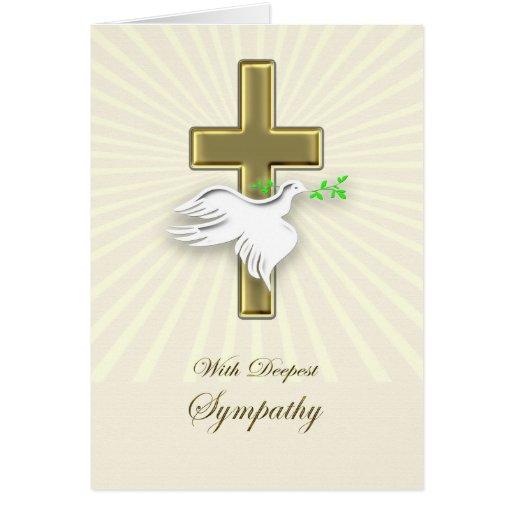 Condolencia con una cruz y una paloma de oro tarjeta de felicitación