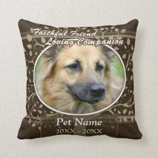 Condolencia de encargo del mascota del amigo fiel cojines