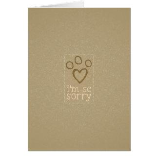 Condolencia de la pérdida del mascota del solo tarjeta de felicitación
