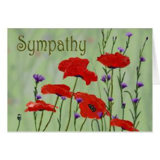 Condolencia de las amapolas tarjeta de felicitación