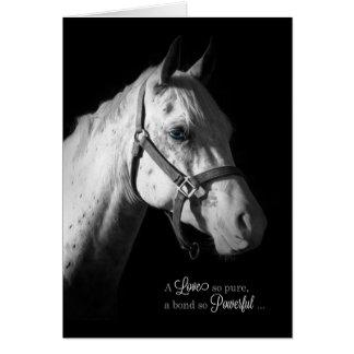 Condolencia del mascota - caballo blanco en negro tarjeta de felicitación