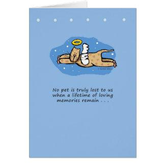 Condolencia del monumento del gato del ángel tarjeta de felicitación