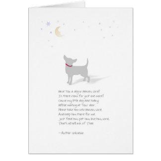 Condolencia del perro - pequeño perro - poema de tarjeta de felicitación
