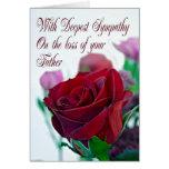 Condolencia en la pérdida de padre, con un rosa ro tarjetas