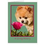 Condolencia, mascota, perro de Pomeranian y tarjet