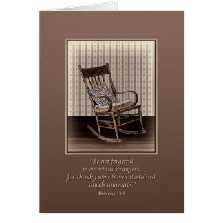 Condolencia, mecedora vacía, religiosa tarjeta de felicitación
