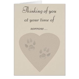 Condolencia para un mascota: Impresiones de la Tarjeta