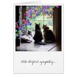 Condolencia, pérdida del mascota, tarjeta del puen