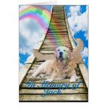 Condolencia - puente del arco iris - golden tarjeton