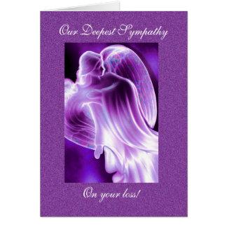 Condolencia púrpura del ángel tarjeta de felicitación