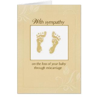 Condolencia y ayuda, huella amarilla del aborto tarjeta de felicitación