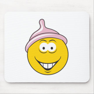 Condom Smiley Face Mouse Pad