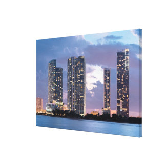 Condominium towers at the waterfront in Miami Canvas Prints