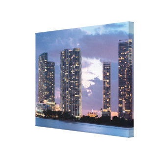 Condominium towers at the waterfront in Miami Gallery Wrapped Canvas