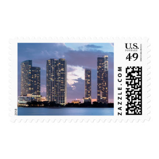 Condominium towers at the waterfront in Miami Postage