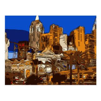 Conducción abajo al hotel Las Vegas de Nueva York Tarjetas Postales