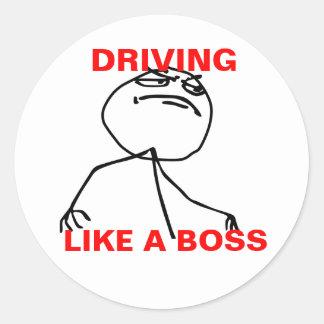 Conducción como Boss Pegatina Redonda