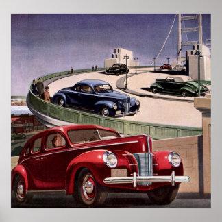 Conducción de automóviles clásica del sedán del póster