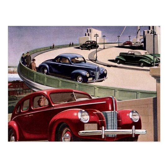 Conducción de automóviles clásica del sedán del tarjeta postal