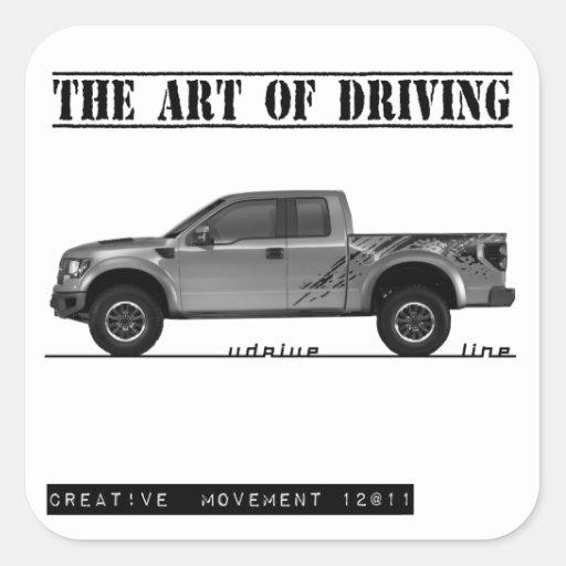 Conducción de la camioneta pickup del arte pegatina cuadrada