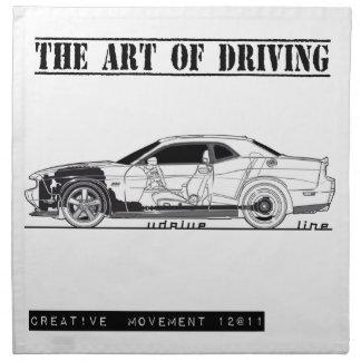 Conducción del coche del músculo del arte servilleta