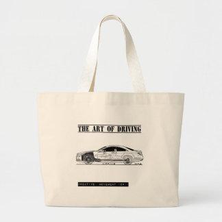 Conducción del coche del sedán del arte bolsa tela grande