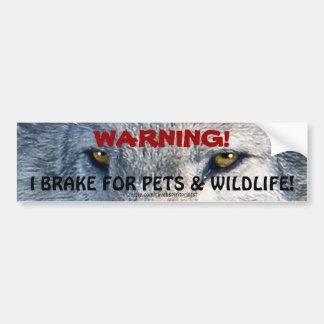 Conduciendo el lobo de la seguridad de la fauna ob etiqueta de parachoque