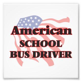 Conductor americano del autobús escolar fotografía