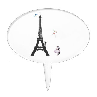 Conductor And Eiffel Tower Cake Topper