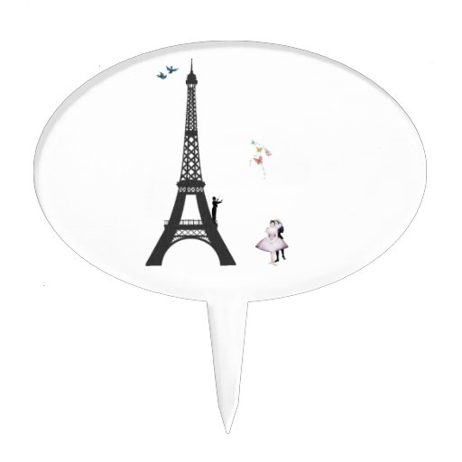 Conductor And Eiffel Tower Cake Toppers