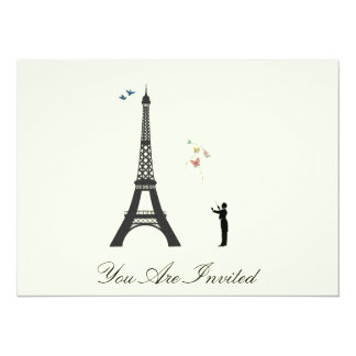 """Conductor And Eiffel Tower  - Vintage Invites 5.5"""" X 7.5"""" Invitation Card"""