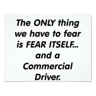 """conductor commerical del miedo invitación 4.25"""" x 5.5"""""""