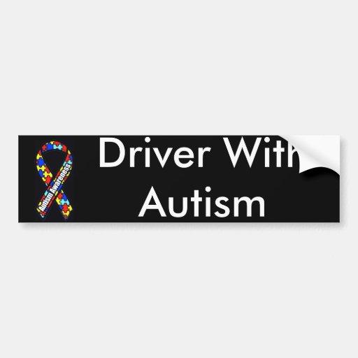 Conductor con autismo etiqueta de parachoque