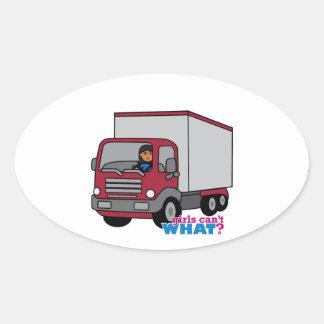 Conductor de camión - camión rojo pegatina oval