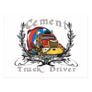 Conductor de camión del cemento tarjeta postal