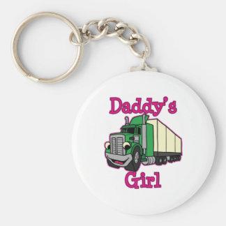 Conductor de camión del chica del papá llavero redondo tipo pin
