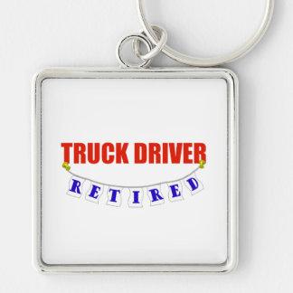 Conductor de camión jubilado llavero cuadrado plateado