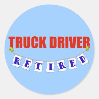 Conductor de camión jubilado pegatina redonda