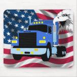 Conductor de camión Mousepad con la bandera y Eagl Alfombrilla De Raton