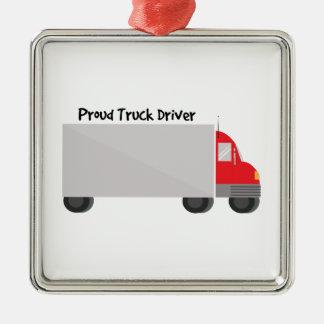 Conductor de camión orgulloso adorno cuadrado plateado