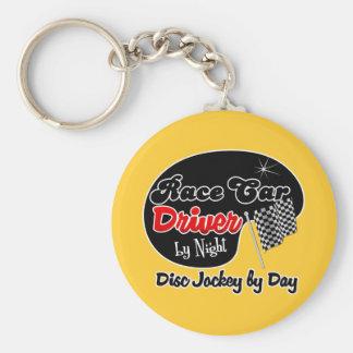 Conductor de coche de carreras del disc jockey de  llavero redondo tipo pin