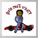 Conductor de coche de carreras oscuro de la mujer impresiones