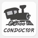 Conductor de tren pegatina cuadrada