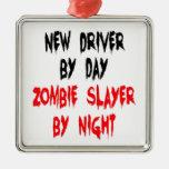 Conductor del asesino del zombi nuevo adorno navideño cuadrado de metal