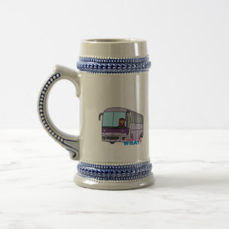 Conductor del autobús de la mujer jarra de cerveza