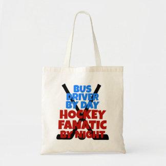 Conductor del autobús del amante del hockey bolsa lienzo